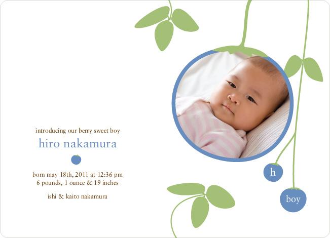 Blueberry Modern Baby Announcement - Sky Blue