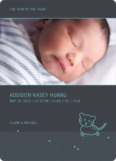 Year of the Tiger Photo Birth Announcements - Turquoise