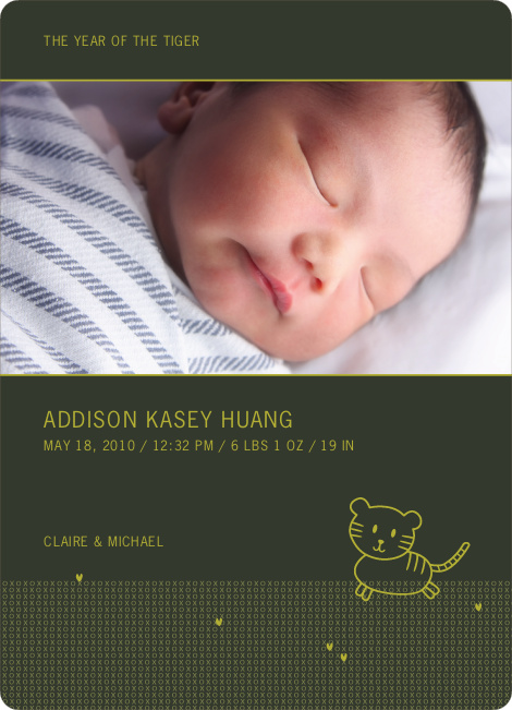 Year of the Tiger Photo Birth Announcements - Olive