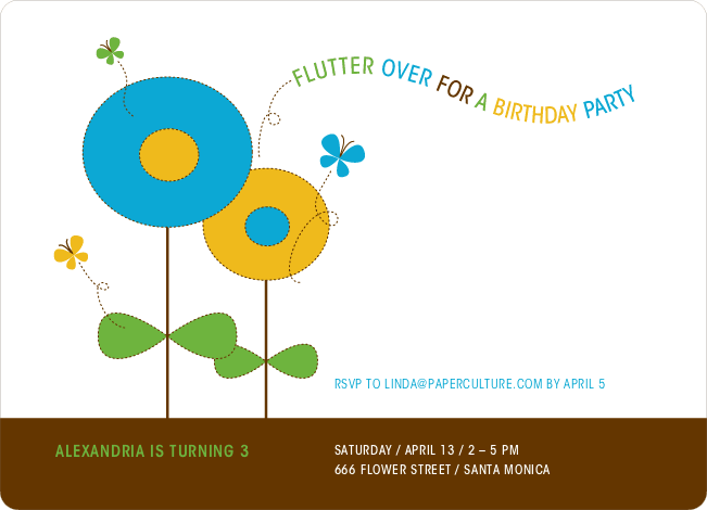Butterflies and Flowers Modern Birthday Invitation - Cyan