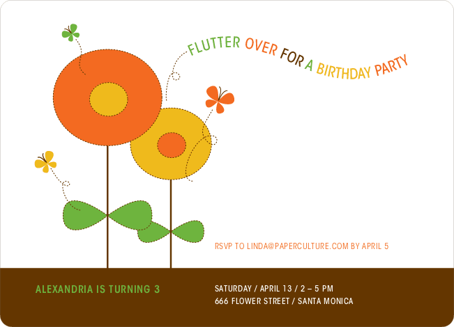 Butterflies and Flowers Modern Birthday Invitation - Orange