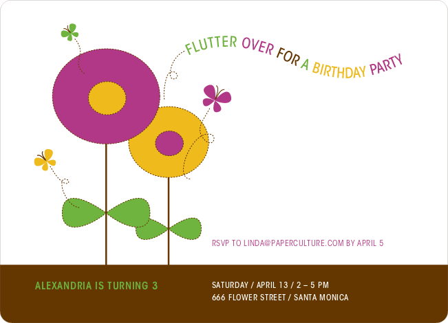 Butterflies and Flowers Modern Birthday Invitation - Maroon