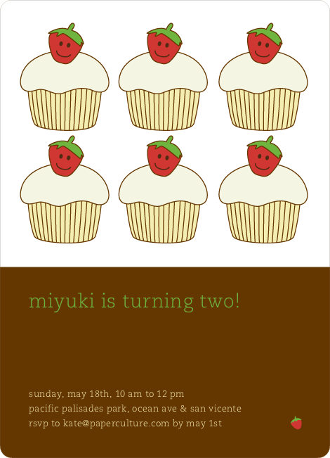 Cupcake Birthday Party Invitation - Paper Culture Brown