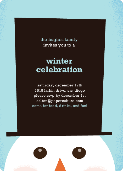 Snowman Hat Holiday Invitations - Azure
