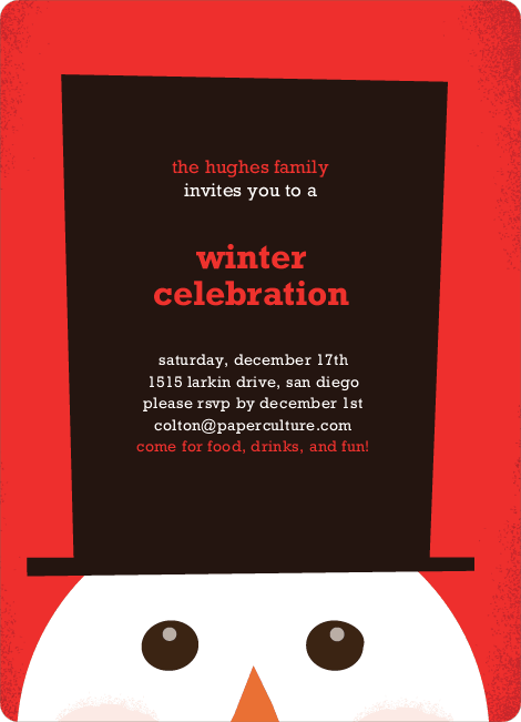 Snowman Hat Holiday Invitations - Fire Engine Red