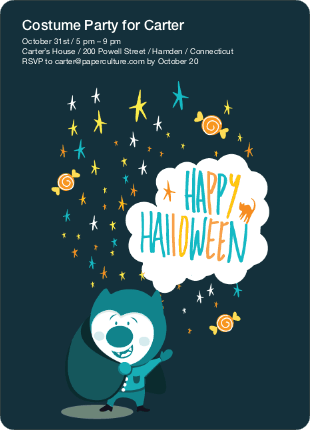 Magical Costume Party Halloween Invitations - Midnight Blue