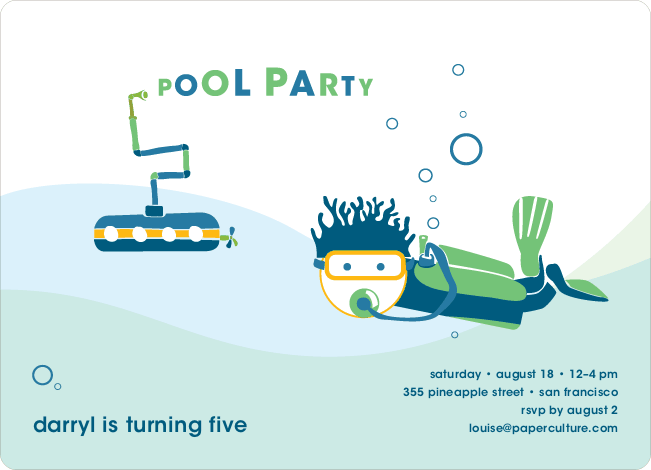 Pool Party Birthday Invitations - Denim Blue