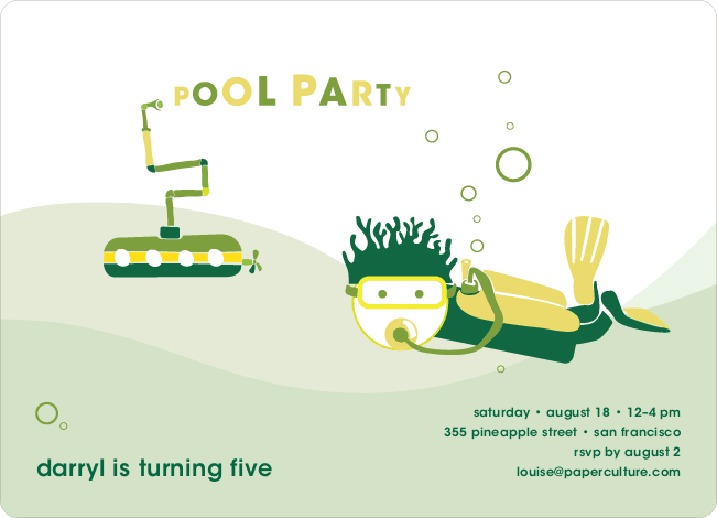 Pool Party Birthday Invitations - Forest Green