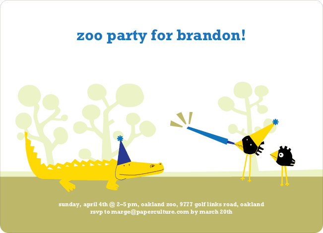 Zoo Animal Birthday Party Invitations - Cornflower Blue