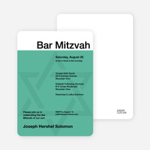 Mazel Tov Bar and Bat Mitzvah Invitations - Sea Green