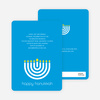 Menorah Happy Hanukkah Card - Royal Blue