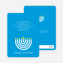 Menorah Hanukkah Card - Royal Blue