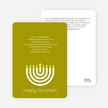 Menorah Hanukkah Card - Lime Green