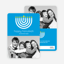 Menorah Hanukkah Photo Card - Royal Blue