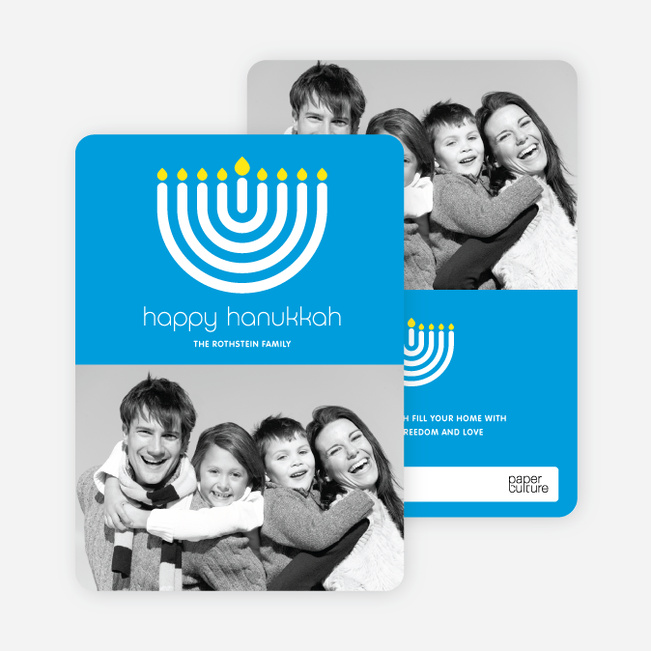 Menorah Happy Hanukkah Photo Card - Royal Blue