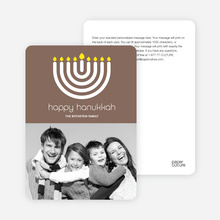 Menorah Happy Hanukkah Photo Card - Cocoa Brown