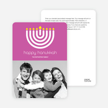 Menorah Hanukkah Photo Card - Fuchsia