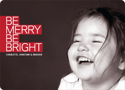 Be Merry Be Bright Prize Winning Holiday Photo Card - Cherry Red