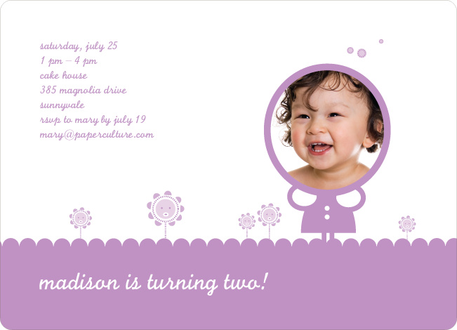 Spring Flowers Photo Birthday Party Invitation - Lavender