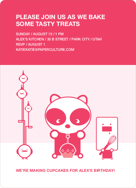 Panda Cupcake Birthday Party Invitation - Strawberry Pink