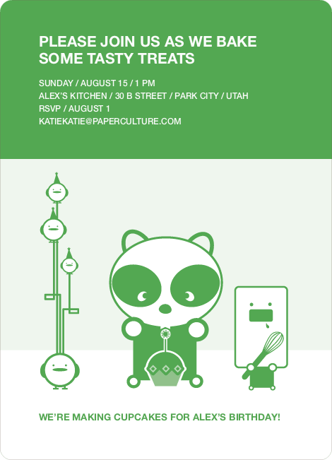 Panda Cupcake Birthday Party Invitation - Shamrock Green