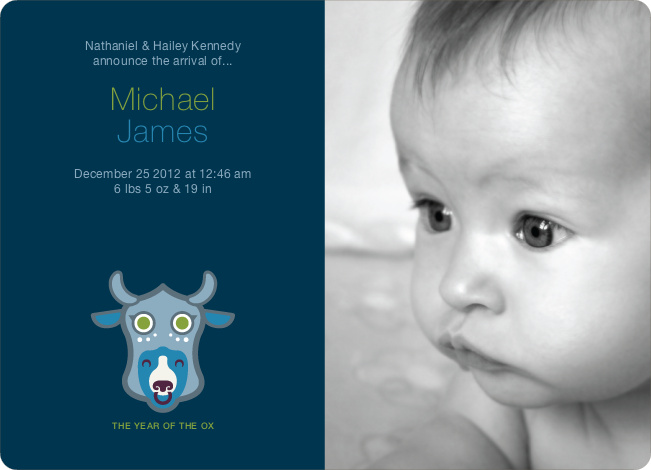 Year of the Ox Modern Birth Announcement - Teal