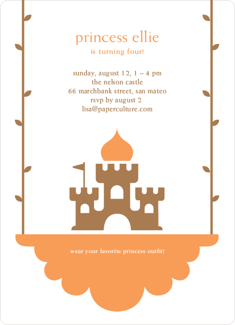 Princess Birthday Party Invitation - Beige Brown
