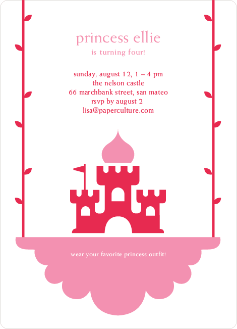 Princess Birthday Party Invitation - Raspberry Red