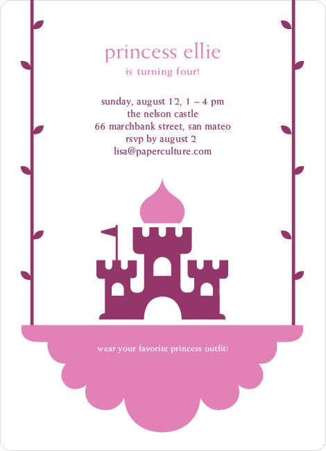 Princess Birthday Party Invitation - Grape Purple