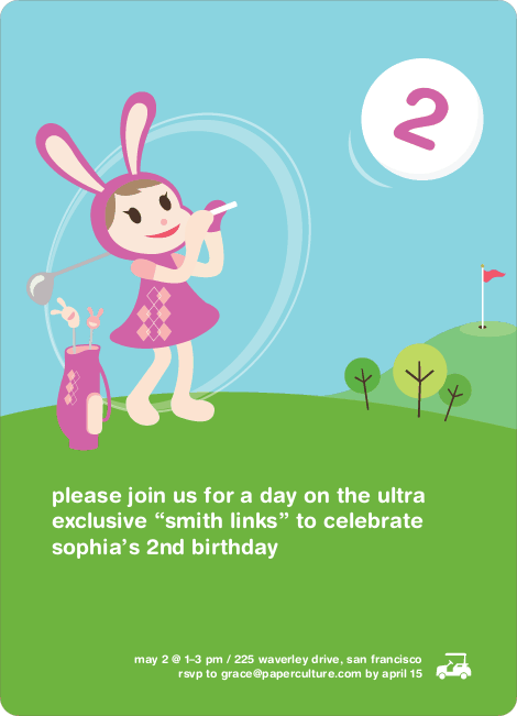 Girl Golfer Birthday Party Invitations - Magenta Purple