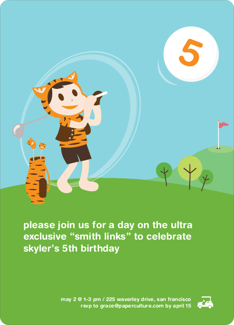 Tiger Golf Birthday Party Invitations - Pumpkin Orange