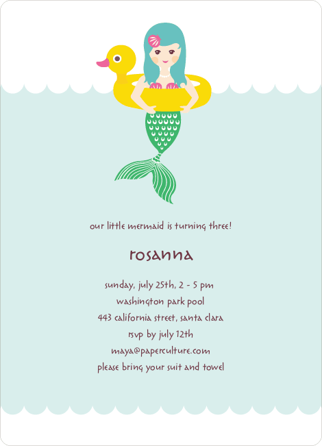 The Little Mermaid Birthday Invitations - Mint Green