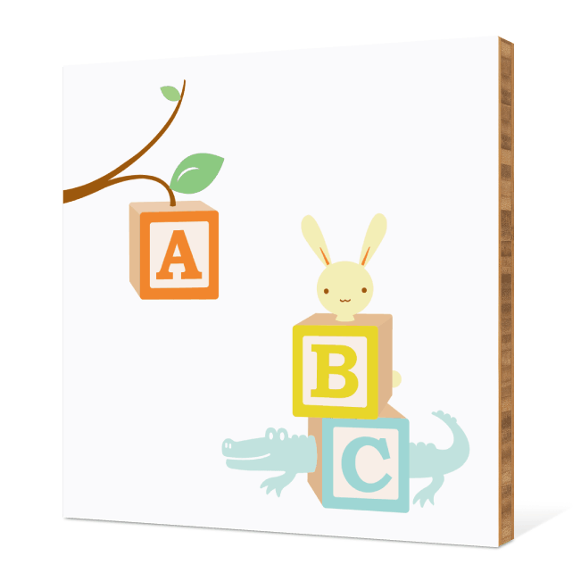 ABC Blocks Nursery Bamboo Wall Art - Pale Aqua