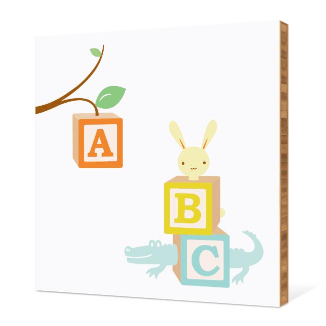 ABC Blocks Nursery Bamboo Wall Art - Pale Aqua