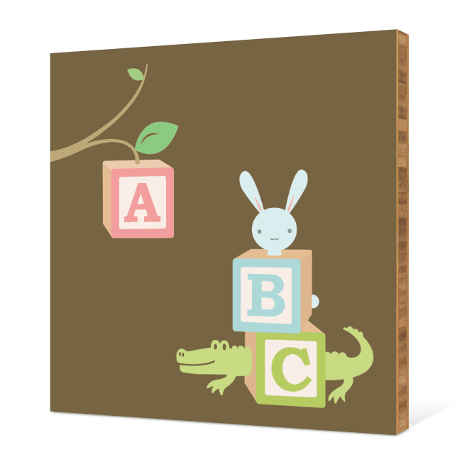 ABC Blocks Nursery Bamboo Wall Art - Dirt Brown