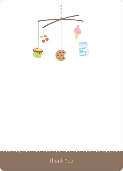 Thank You Card for Food Cravings Mobile Baby Shower Invitation - Caf� Au Lait