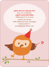 Dancing Owl Party Invites - Strawberry Cream