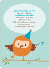 Whoo Yeah, Dancing Owl Birthday Party Invitations - Clear Sky