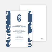 Modern Chinese New Year Calligraphy Scroll Invitations - Cobalt Blue