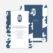 Modern Chinese New Year Calligraphy Scroll Invitations - Dashing Blue