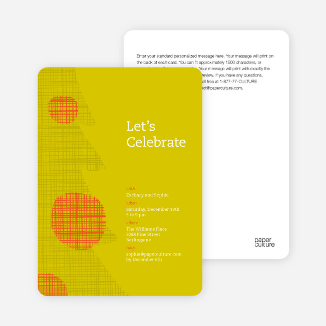 Modern Christmas Tree Themed Party Invitations - Mustard Yellow