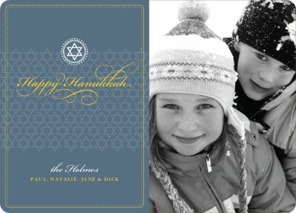 Modern Classic Hanukkah Cards with Photo - Slate Blue