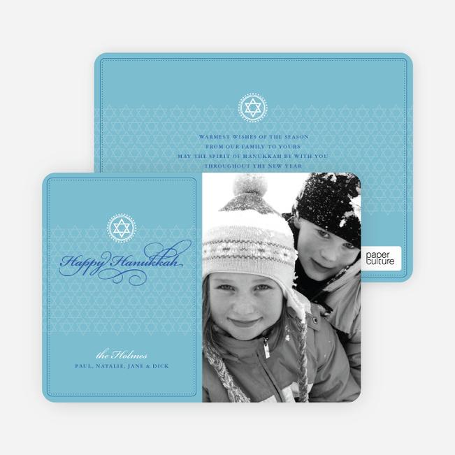 Modern Classic Hanukkah Cards with Photo - Cornflower Blue