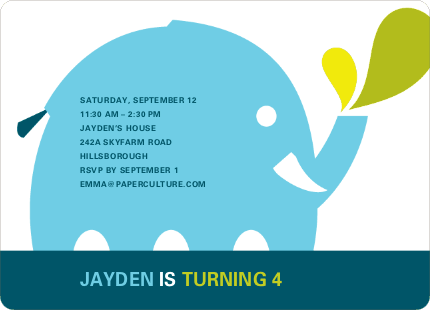Modern Elephant Birthday Party Invitation - Light Blue
