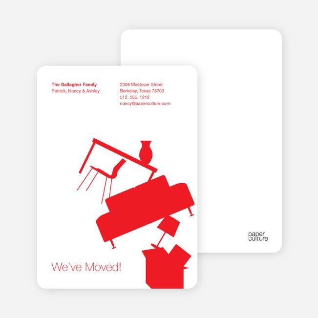 Modern Furniture Change of Address Card - Red