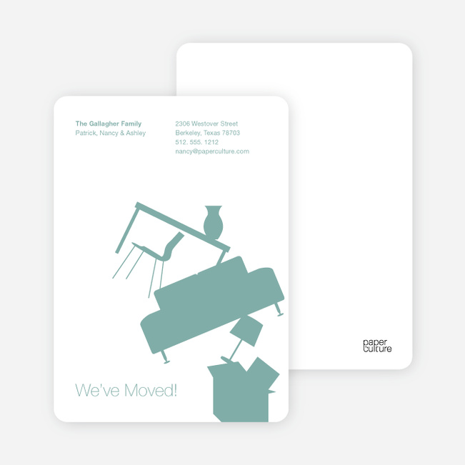 Modern Furniture Change of Address Card - Greenish Grey