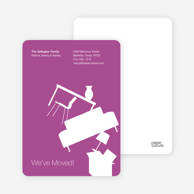 Modern Furniture Change of Address Card - Light Purple