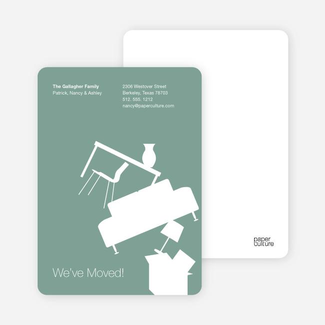 Modern Furniture Change of Address Card - Aquamarine