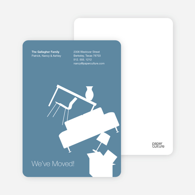 Modern Furniture Change of Address Card - Grey Blue