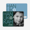 Modern HANUKKAH Photo Cards - Cadet Blue